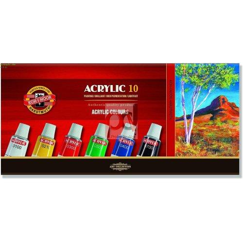 Sada akrylových barev KOH-I-NOOR 10 x 16 ml