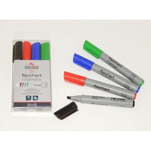 Sada značkovačů KOH-I-NOOR Flipchart 4 barvy plochý