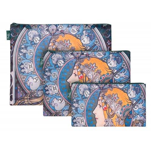 Set 3 taštiček Mucha Zodiac