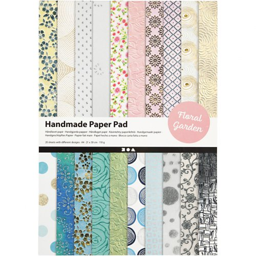Papír bavlněný ruční, BLOK A4, 210 x 297 mm, 110 g, 20 motivů ZAHRADA - 21636_2.jpg