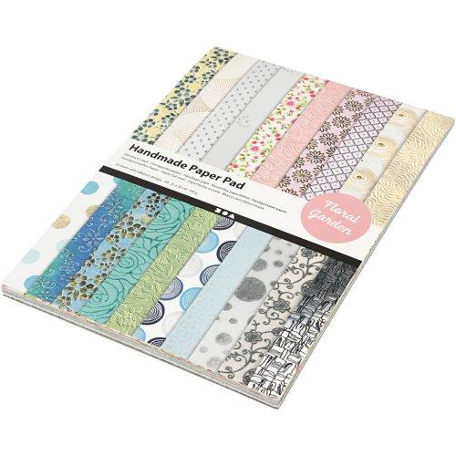Papír bavlněný ruční, BLOK A4, 210 x 297 mm, 110 g, 20 motivů ZAHRADA