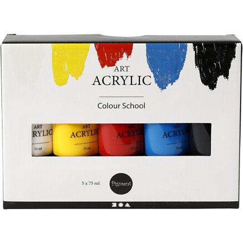Sada akrylových barev PIGMENT ART 75 ml 5 barev