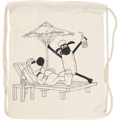 Malá taška se šnůrkou motiv OVEČKA SHAUN textil, 37 x  41 cm