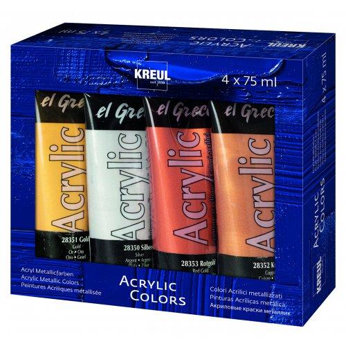 EL GRECO Akrylové barvy METALICKÉ sada 4 barev 75 ml