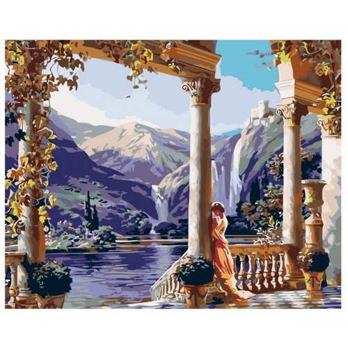Malování podle čísel - HRAD NAD JEZEREM na rámu 40 x 50 cm