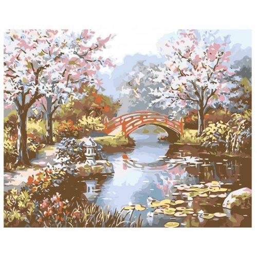 Malování podle čísel - JAPONSKÁ ZAHRADA na rámu 40 x 50 cm