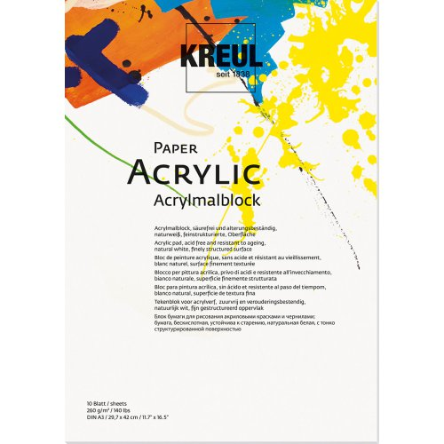 Papír na akryl KREUL 260 g/m2 - DIN A3 - 10 listů