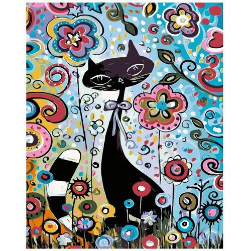 Malování podle čísel - KOČKA V KVĚTINÁCH 40x50 cm plátno na rámu