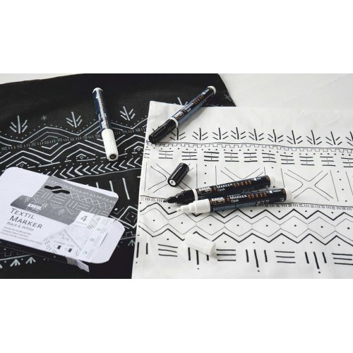 Sada Fix na textil JAVANA KREUL OPAK ČERNÁ + BÍLÁ 4 ks - 92751_KREUL_TextilMarkerOpak_4erSet_BlackAndWhite_5_RGB.jpg