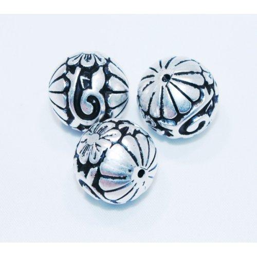 Akrylové korálky KVĚT 3ks - starostříbro
