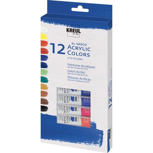 EL GRECO Akrylové barvy sada 12 barev 12 ml