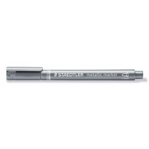 Metalický popisovač stříbrný STAEDTLER 1-2 mm kuželový hrot