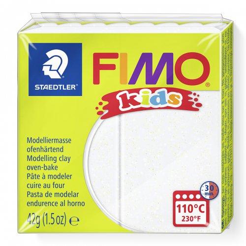 Fimo kids 42g - dětská modelovací hmota bílá se třpytkami