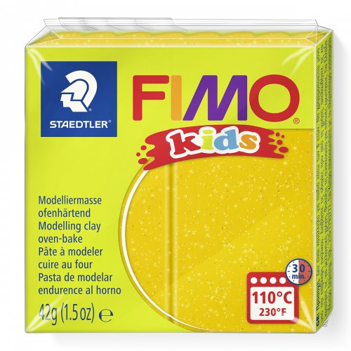 Fimo kids 42g - dětská modelovací hmota zlatá se třyptkami