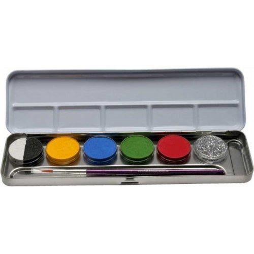 5 barev +1 třpytky v kovové paletě