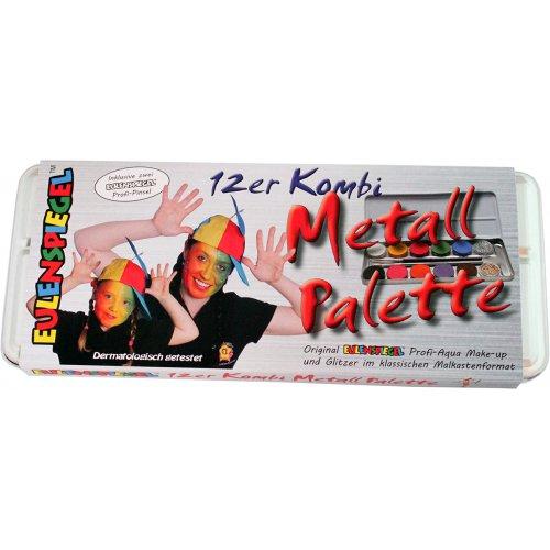 10 barev + 2 třpytky v kovové paletě