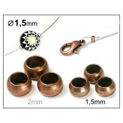 Zamačkávací rokajl 1,5mm/20ks měď