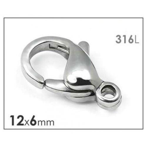 Karabina chirurgická ocel 316 12x6mm - 2ks