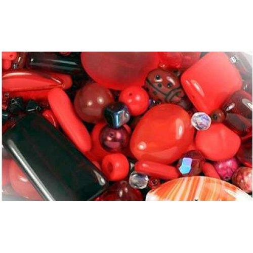 Směs skleněných korálků 75g červená