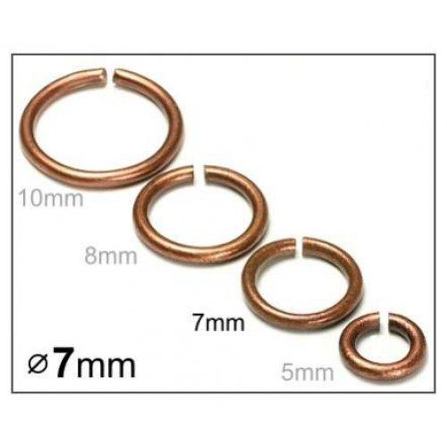 Spojovací kroužek 7mm/10ks měď