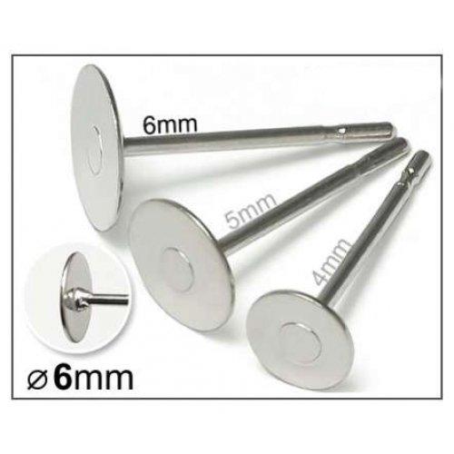 Náušnicové puzety lepící 6mm/3páry platina