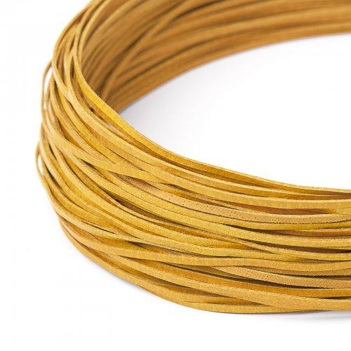 Kožený řemínek plochý 120 cm žlutý