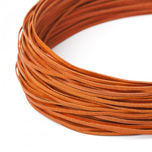Kožený řemínek plochý 120 cm oranžový