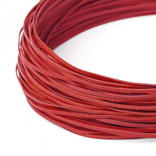 Kožený řemínek plochý 120 cm červený