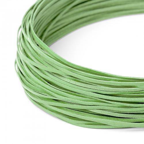 Kožený řemínek plochý 120 cm hráškově zelený