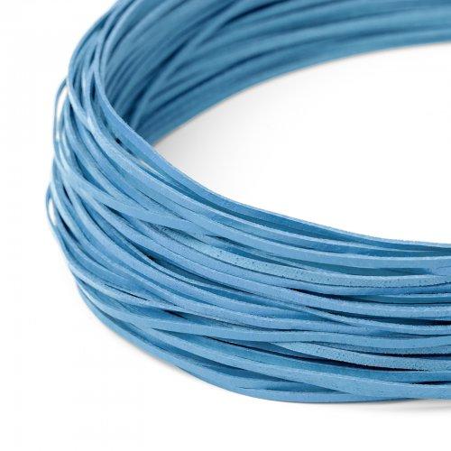 Kožený řemínek plochý 120 cm světle modrý