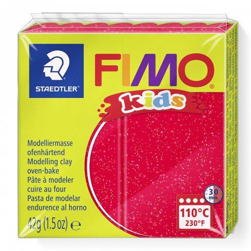Fimo kids 42g - dětská modelovací hmota červená se třpytkami