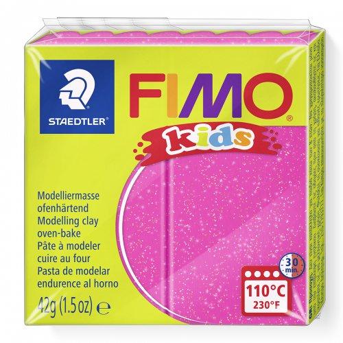 Fimo kids 42g - dětská modelovací hmota růžová se třpytkami