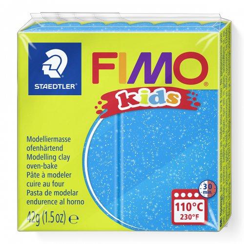Fimo kids 42g - dětská modelovací hmota modrá se třpytkami