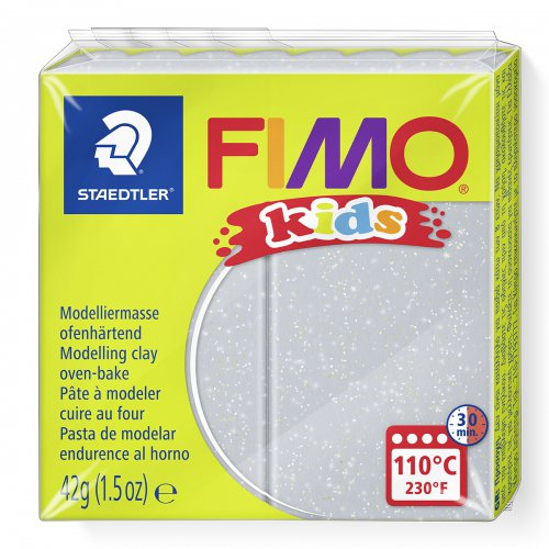 Fimo kids 42g - dětská modelovací hmota stříbrná se třpytkami