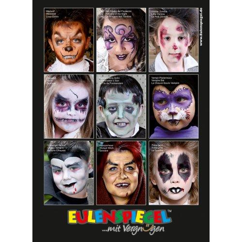 Plakát MALOVÁNÍ NA OBLIČEJ s 9 Halloween motivy