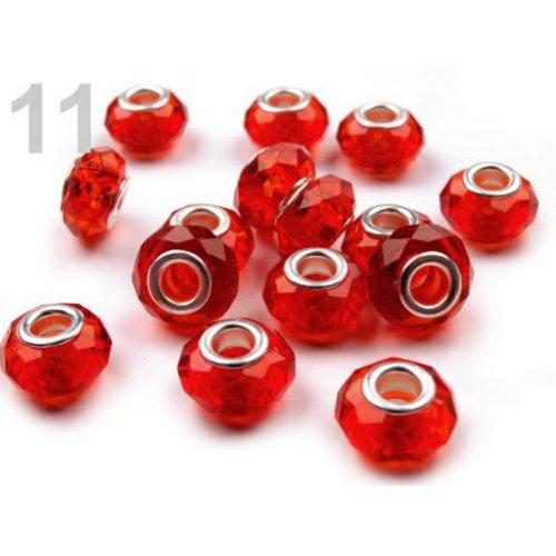 Broušené korálky s vel. prův. (3ks) 14,5x9 mm  - 11 červená jahoda