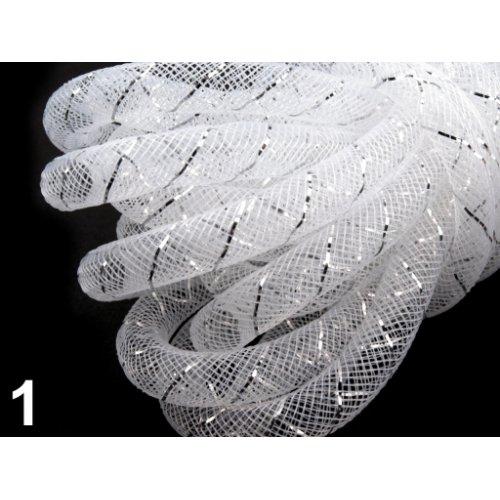 Modistická dutinka 8 mm s lurexem - 1 bílá (1m)