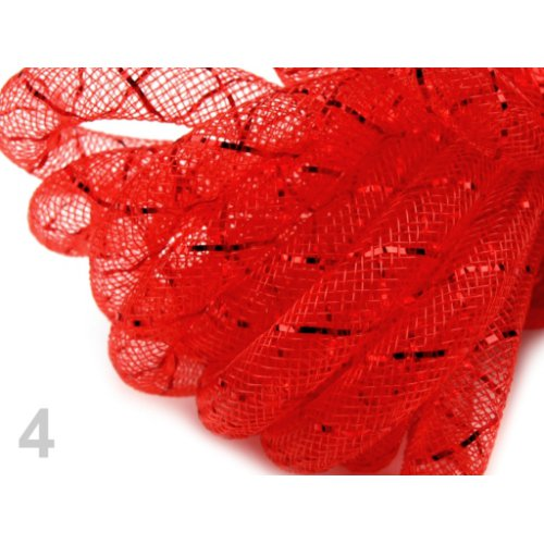 Modistická dutinka 8 mm s lurexem - 4 červená jahoda (1m)