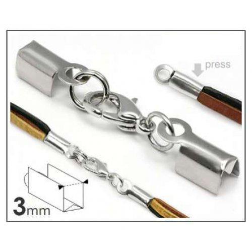 Ploché zamačkávací koncovky 3 mm se zapínáním platinové