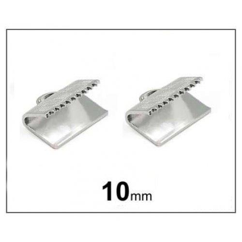 Bižuterní koncovka na stuhu 10 mm platina (2ks)