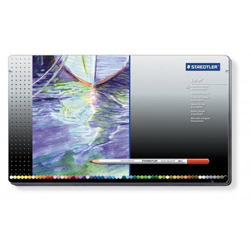 Akvarelové pastelky KARAT kovová krabička 60 barev STAEDTLER