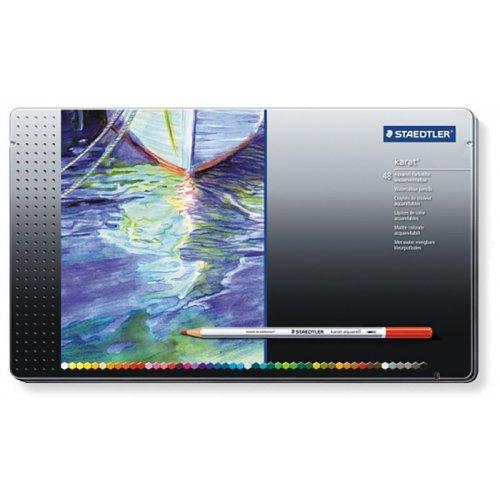 Akvarelové pastelky KARAT kovová krabička 48 barev STAEDTLER