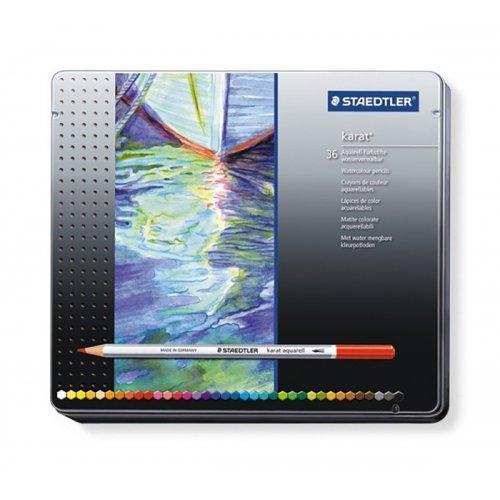 Akvarelové pastelky KARAT kovová krabička 36 barev STAEDTLER