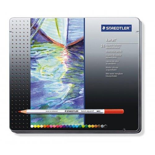 Akvarelové pastelky KARAT kovová krabička 24 barev STAEDTLER