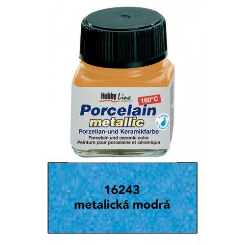 Barva na porcelán HOBBY LINE metalická modrá 20 ml