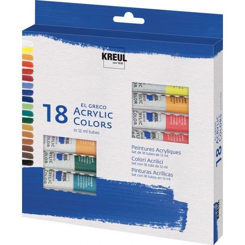 EL GRECO Akrylové barvy sada 18 barev 12 ml