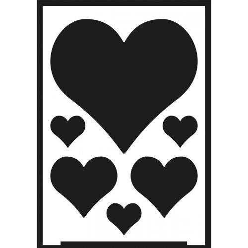 Šablona samolepicí flexibilní, srdce, A5 - negativ