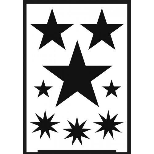 Šablona samolepicí flexibilní, hvězdy, A5 - negativ