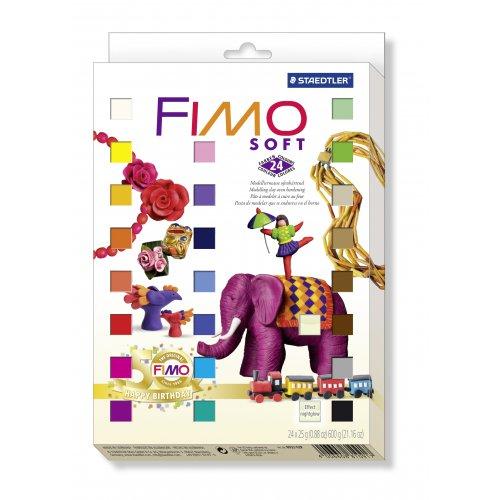 FIMO Soft sada 24 barev RETRO + 4 vykrajovátka zdarma!