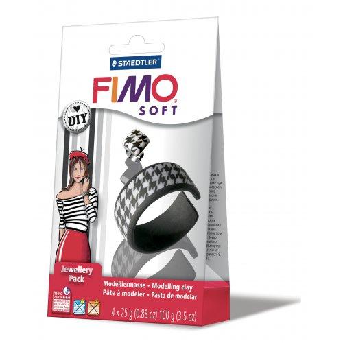 FIMO Soft DIY šperková sada ČERNÁ a BÍLÁ
